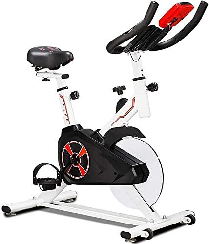 DJDLLZY Bicicleta estática Bicicleta de Spinning de Interior, Cubierta Bicicleta estacionaria, cómodo cojín del Asiento, con el LCD del Detector, Pesado del Volante/Diario Home Fitness/la pérdida