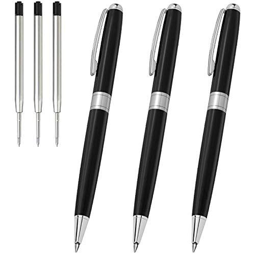 Ballpoint Pens Black Ink, Cambond Metal Pens Stainless Steel Uniform Pens for Gift Business Men Police Flight Attendant, 1.0 mm Medium Point, 3 Pens with 3 Extra Refills, Black