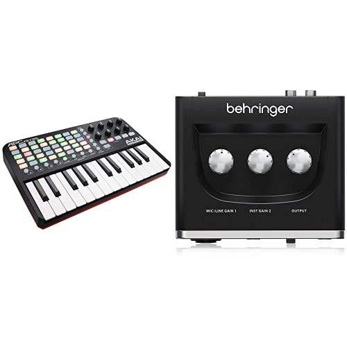 AKAI Professional APC KEY 25Teclado controlador MIDI USB para Ableton con 25 teclas de estilo piano + Behringer U-PHORIA UM2 Equipos de música adicionales Negro