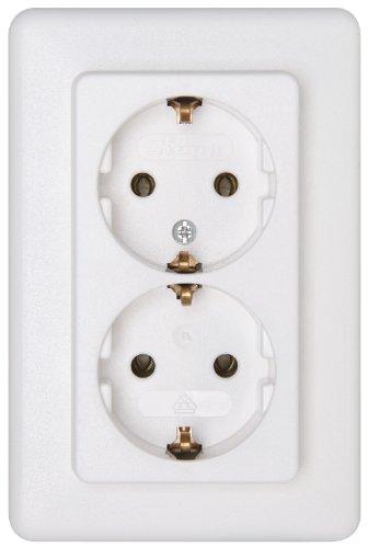 Kopp 912613066 Europa Schutzkontakt-Steckdose, 2-fach ohne erhöhten Berührungsschutz, arktis-weiß