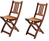 SAM® Set de 2 sillas Plegables de Madera de Acacia, Silla