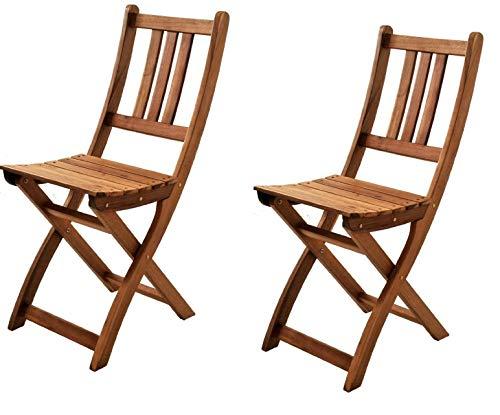 SAM® Set de 2 sillas Plegables de Madera de Acacia, Silla de jardín, Madera Maciza, Ideal para Balcones, terrazas o Jardines, Certificado FSC®
