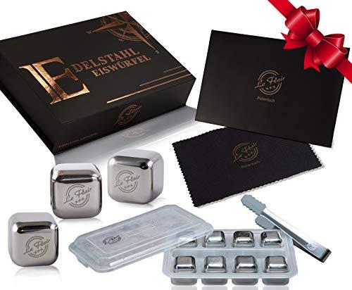 Le Flair Premium Edelstahl Eiswürfel Set -mit unglaublicher Kühlleistung– XXL Set mit 8 Whisky Steine aus Metall, Magnetbox, Zange, Einfrierbox und Poliertuch