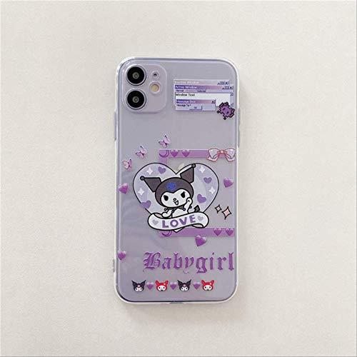 Carcasa de teléfono Transparente Kuromi de Dibujos Animados para iPhone 12 12Mini 11 Pro MAX XS MAX XR 8 7 6 6s Plus SE Cute Anime Soft Silicone Cover para iPhone XR C