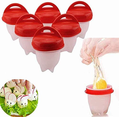 Juego de 6 cuecehuevos de silicona, sin cáscara, antiadherente, sin BPA, 6 unidades