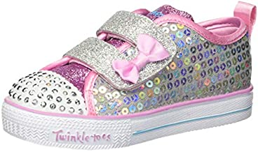 Skechers Kids Girls' Shuffle LITE-Mini Mermaid Sneaker, Silver/Multi, 7 Medium US Toddler