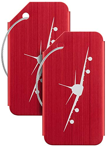 Travelambo Aluminum Luggage Tags Travel Suitcase Bag Baggage Tag (Red 02 pcs Set)