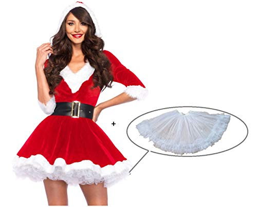 Snsunny Damen Weihnachtskostüm Mrs. Santa Claus Kostüm Weihnachtskleid mit Kapuze, Gürtel und Petticoat Christmas Party Weihnachtsfeier Cosplay Hoodie V-Auschnitt Dress Xmas Outfit (Medium, Rot)