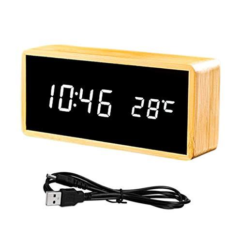 Queta LED Wecker Spiegel Digitalwecker Tisch Uhr Datum Temperatur Anzeige Standuhr Dekoration Alarm