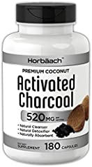 Non-GMO; Free of Gluten, Wheat, Yeast, Milk, Lactose and Soy Premium Coconut Activated Charcoal 520 mg Capsules; Great bulk size with 180 capsules per bottle Made from pure coconut shells Helps with occasional gas and bloating* Natural cleanser and d...
