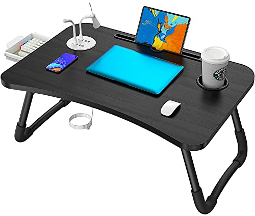 Elekin Folding Laptop Desk Standing Bed Table Bed Tray with USB Port/Cup Holder for Bed Couch Sofa with Free Gift-Mini Lamp Mini Fan