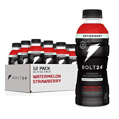 Bolt24 Fueled by Gatorade, Hydration with Antioxidants and Electrolytes, Watermelon Strawberry, 16.9 Fl Oz, Pack of 12