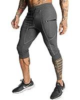 FIRSTGYM Mens Casual Shorts 3/4 Jogger Pants Workout Training Jogger Capri Pants Dark Grey