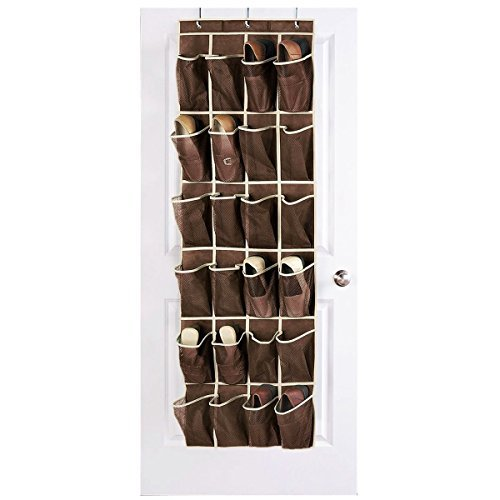 HIPPIH Over The Door Shoe Organizer with 24 Reinforced Mesh Pockets Hang on Standard Doors with 3 Hooks