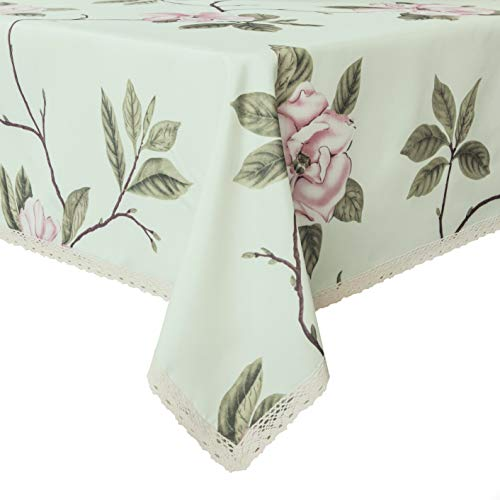 Wewoch Decorative Camellia Floral Print Polyester Rectangle Tablecloth Waterproof Fabric Lace Table Cloth, Table Cover for Dining Room and Party (60x84-Inch, Pale Green)