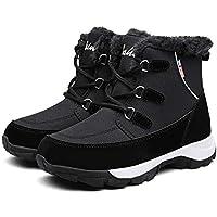 Mujer Botas para Raquetas de Nieve Zapatos Piel Cálida Exteriores Invierno a Prueba Isotherm Transpirable y Duradero 40 EU Negro,25 cm talón a los pies