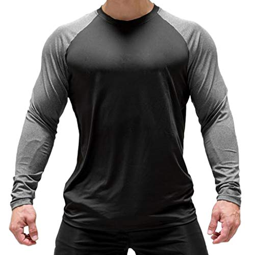 Magiftbox Men's Long Sleeve Seamless Pullover Sweatshirt Lightweight Active Jogging Running Workout Muscle Shirts T14_Darkgray_US-M