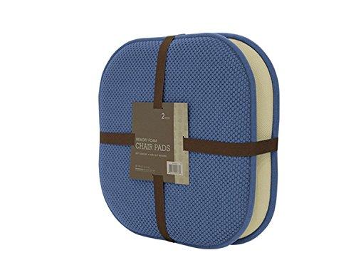 GoodGram 2 Pack Non Slip Ultra Soft Chenille Premium Comfort Memory Foam Chair Pads/Cushions - Assorted Colors (Blue)