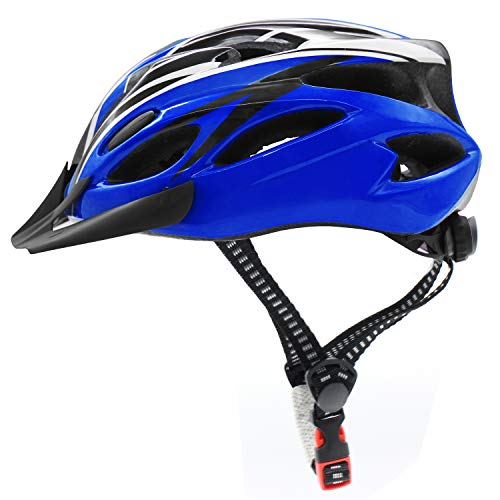 Bicycle Helmet, Adjustable Lightweight Cycling Helmet Unisex, Road and Mountain Fahrradhelm with Detachable Visor (Blau + Schwarz)
