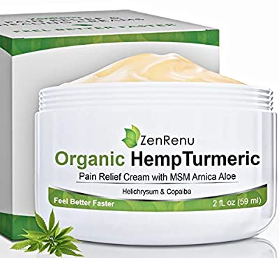 Organic Hemp Pain Relief Cream by ZenRenu - MSM Turmeric Arnica Lotion - Hemp Oil Hemp Extract for Pain Cream from ZenRenu