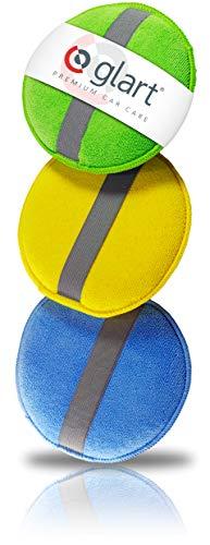 Glart 43PP Mikrofaser Handpolierschwamm 3er Set, 130x25 mm, Wax Applikator Pad für Wachse, Polituren, Lackreiniger, Autopolitur, statt Poliermaschine, Blau/Grün/Gelb