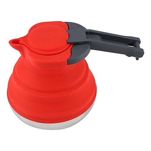 OKBY Hervidor De Silicona - Calentador De Silicona Plegable Portátil 1 Pc Agua Hervida Tetera Al Aire Libre Senderismo Camping Uso (Rojo)