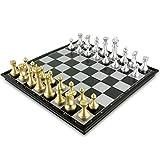 MIAOGOU ajedrez Internacional Juego De Piezas De Ajedrez Juego De Ajedrez Medieval con Tablero De Ajedrez 32 Piezas De Ajedrez con Tablero De Ajedrez Juego De Ajedrez Magnético De Oro Y Plata