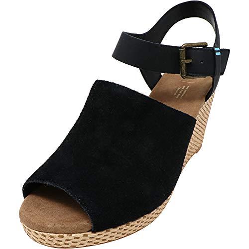 Toms Women's Tropez Sandal Black Suede/Leather 7 M