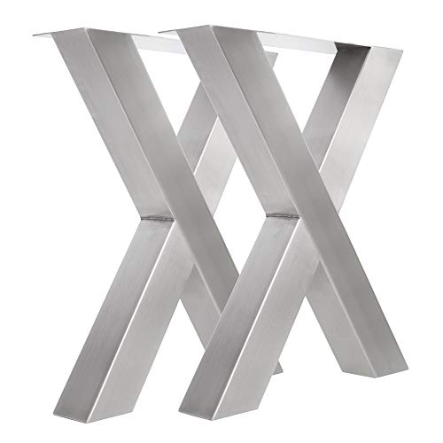 KTC Tec Tux 800 Lot de 2 Pieds de Table en Acier Inoxydable 100 x 100 cm