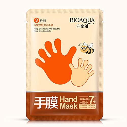 BIOAQUA - Guantes de mascarilla para manos suaves y sedosas, extracto natural de miel, hidrata las manos suaves (2 unidades, 2 pares)