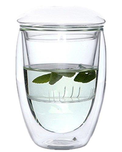 Tasse à thé résistante à la chaleur - En double couche de verre borosilicate transparent - Avec infuseur et couvercle, Verre borosilicate, Glass 350ml, 350 ml