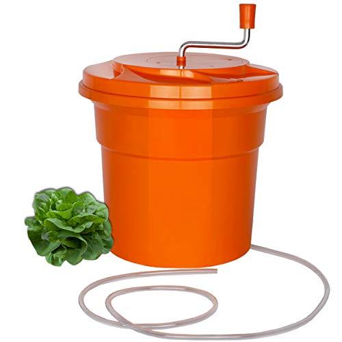 Beeketal \'SB-Maxi25\' Profi Gastro Salatschleuder mit 25 Liter Gesamtvolumen - Extra großer Salattrockner mit Wasser Ablaufschlauch, Kurbelantrieb und entnehmbarem Schleudersieb