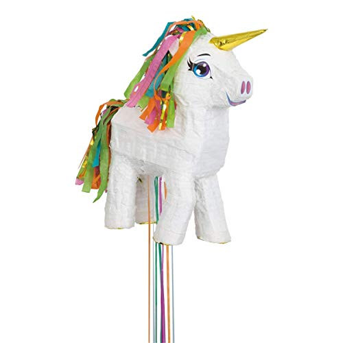 Unique Party- Piñata unicornio para tirar, Color blanco (65987)