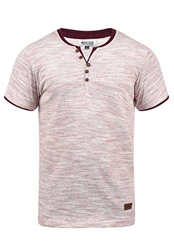 Indicode Aldred Herren T-Shirt Kurzarm Shirt Streifenshirt Mit Streifen Und Grendad-Ausschnitt, Größe:M, Farbe:Wine (227)