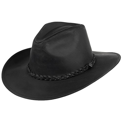 Jaxon & James Chapeau de Cowboy en Cuir Buffalo Noir Medium