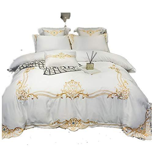 LYzpf Bettwäsche Vierteiliges Set Bett Bettwaren Super Weiche Mikrofaser Atmungsaktive Stickerei Baumwoll Bettbezug & Kissenbezug Pflegeleicht,White,1.5 * 2m