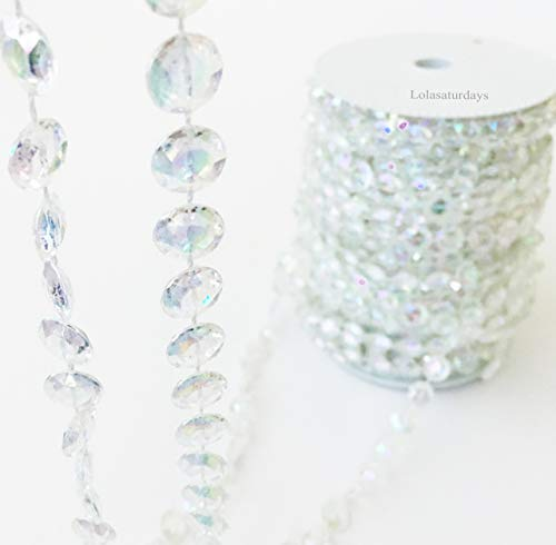 LOLASATURDAYS Faux Crystal Beaded Garland roll- 99 ft Long