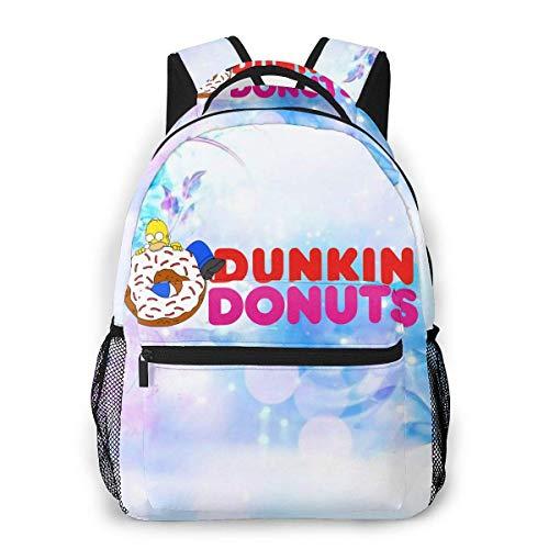 yusanbaihuodian Dunkin Donuts Stilvoller Laptop-Rucksack mit USB- und Kopfhöreranschluss, Freizeitwander-Reiserucksack