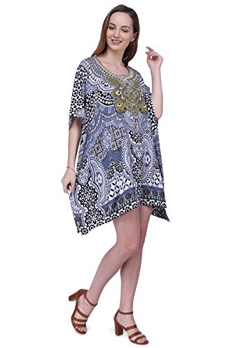 Miss Lavish London Kaftan Dress - Caftans for Women - Women's Caftans Available in One Size to Fit UK 8,10,12 and 14 (158 Black)