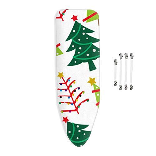 Funda para Tabla de Planchar, Dimensión de la Funda para, 100% algodón, Adecuado para Todas Las Tablas de Planchar Grandes, con Cordones y 4 Clips,120x40cm,árbol de Navidad