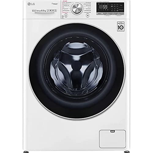 LG F2V7SLIM8E - Lavatrice, colore: Bianco Nero, solo 47,5 cm di profondità