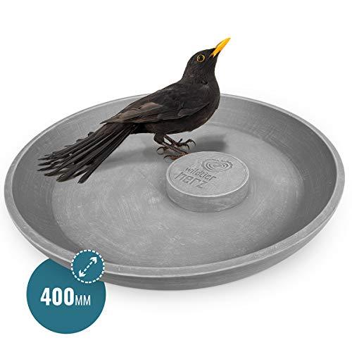 wildtier herz | Neuheit - Extra große Premium Vogeltränke Ø 40 cm, Vogelbad stehend für den Garten, Frostsicher & Witterungsbeständig, Vogelbecken, Wasserschale