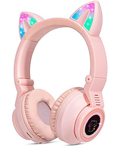 Cuffie per bambini senza fili con luci a forma di gatto, cuffie Bluetooth sopra l orecchio per bambini pieghevoli w microfono per Amazon Fire Tablet Laptop iPad (rosa)