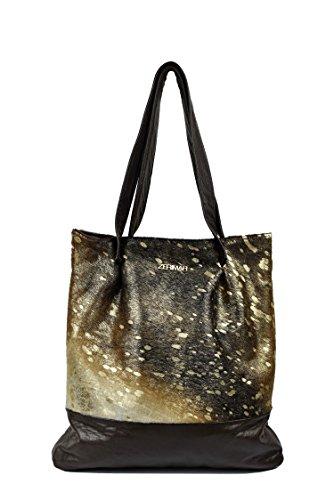Zerimar Leder-Umhängetasche für Damen Große Umhängetasche aus weichem Leder Farbe gold-Braun Grösse: 39x37x5 cm