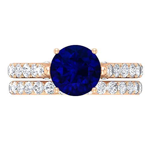 Juego de anillos de solitario para novia, 3,35 quilates redondos, D-VSSI Moissanite 8 mm zafiro difuso, anillo cónico con piedras laterales, joyería de oro para ella, 14K Oro rosa, Size:EU 68