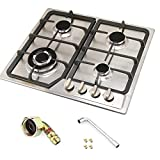WindMax 23' Stainless Steel 4 Burner Stoves Gas Hob Cooktops Cooker Gas Oven 11259Btu/H