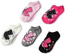 Jojo Siwa girls Jojo Siwa 5 Pack No Show Casual Sock, Assorted Pink/Black/X, Fits Sock Size 6-8.5 Fits Shoe Size 7.5-3.5 US