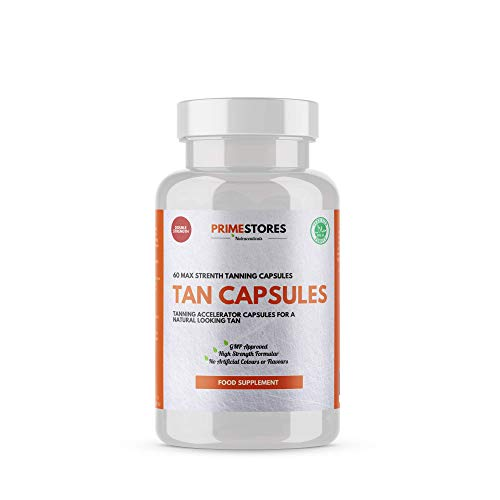 Tanning Tablets Fake Sun Tan - 60 Bronzing Capsules - High Strength Halal Product Face Mist Dark Gold Shine Supplements by Primestores