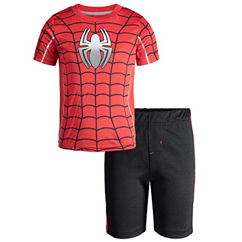 Marvel Avengers Spiderman Little Boys' Athletic T-Shirt & Mesh Shorts Set, Red (12)