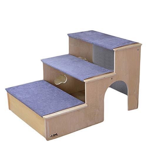 Holz Pet Treppen w / 3 Nonslip Schritte, Einbauschränke Haus for Hunde, Katzen & Short Haustiere zu erreichen Bett, Couch, Fenster, Auto und mehr Extra Bonus Kissen inklusive